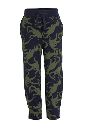 regular fit joggingbroek met all over print donkerblauw/groen