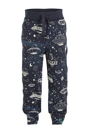 regular fit broek met all over print blauw