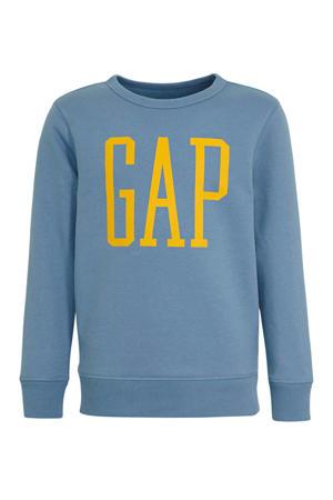 sweater met logo grijsblauw
