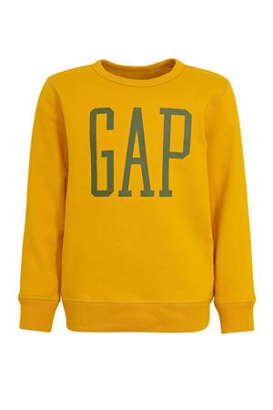 sweater met logo goudgeel