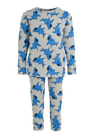 pyjama haaien grijs melange/blauw