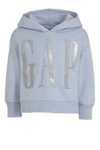 GAP hoodie met logo blauw/zilver, Blauw/zilver