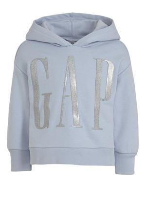 hoodie met logo blauw/zilver