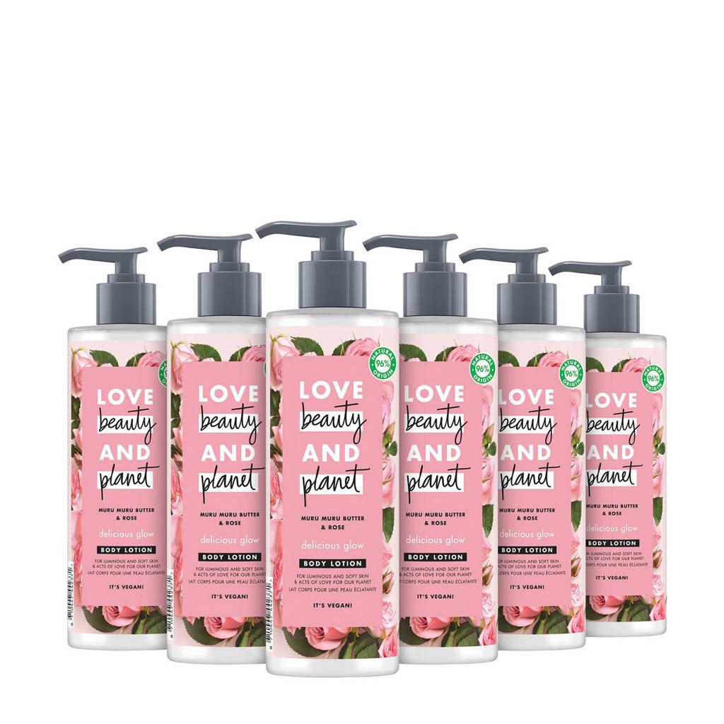 Love Beauty and Planet Muru Muru Butter & Rose Delicious Glow bodylotion - 6 x 400 ml