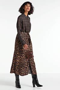 Geisha blousejurk met all over print en ceintuur bruin/grijs, Bruin/grijs