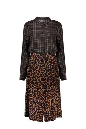 blousejurk met all over print en ceintuur bruin/grijs