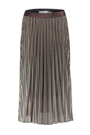 plissé rok met all over print zwart/zand