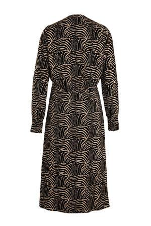 maxi jurk met all over print en ceintuur zwart/beige
