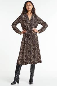 Geisha maxi jurk met all over print en ceintuur zwart/beige, Zwart/beige