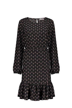 jurk met all over print en volant zwart