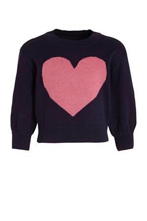 trui met hartjes zwart/roze