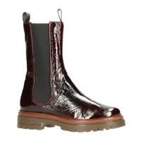 Mjus 83205  hoge lakleren chelsea boots bordeauxrood, Bordeauxrood