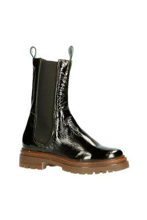 M83205  hoge leren chelsea boots donkergroen