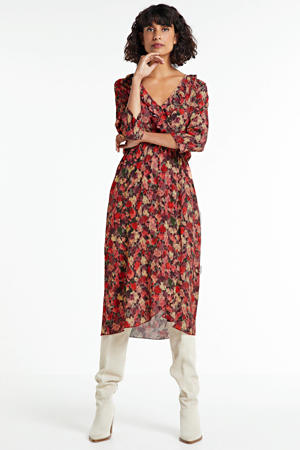 maxi jurk met all over print en ruches rood