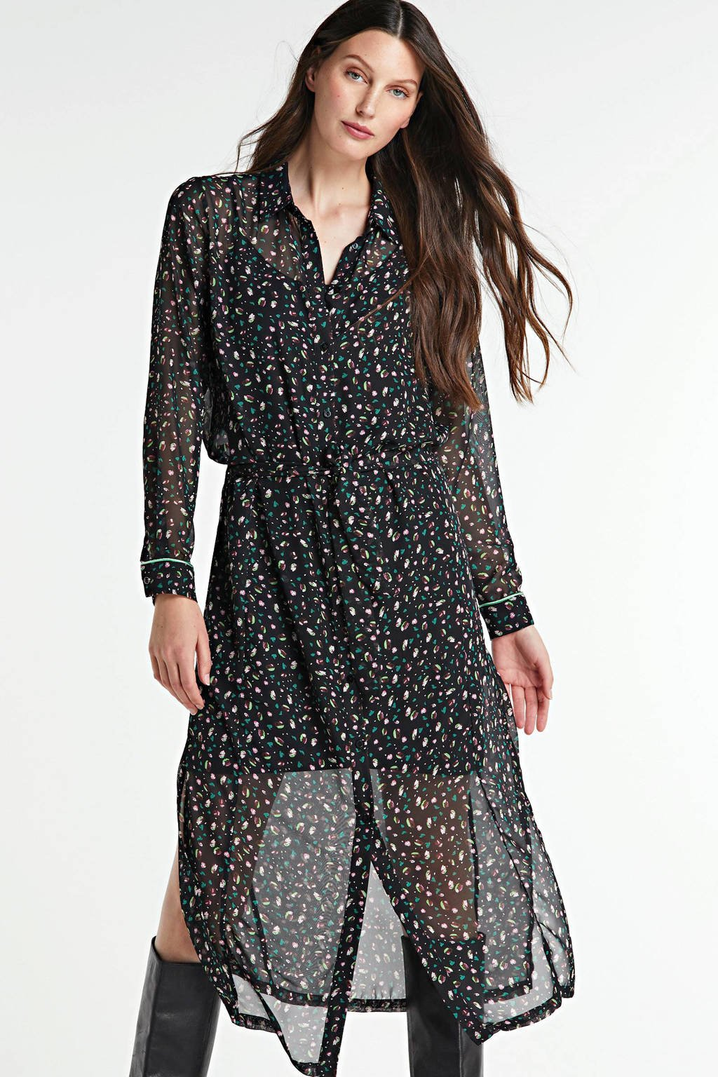 Freebird maxi blousejurk Harper met all over print en ceintuur zwart/groen/roze, Zwart/groen/roze