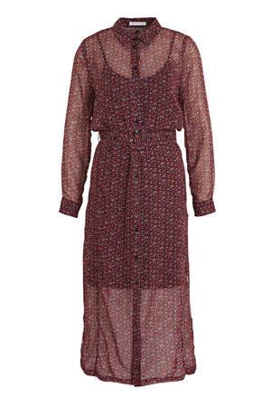 semi-transparante blousejurk met all over print en ceintuur paars