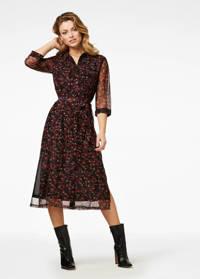 Freebird semi-transparante jurk met all over print en ceintuur rood/zwart, Rood