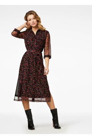 semi-transparante jurk met all over print en ceintuur rood/zwart
