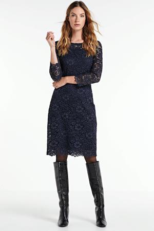 semi-transparante kanten jurk met kant donkerblauw