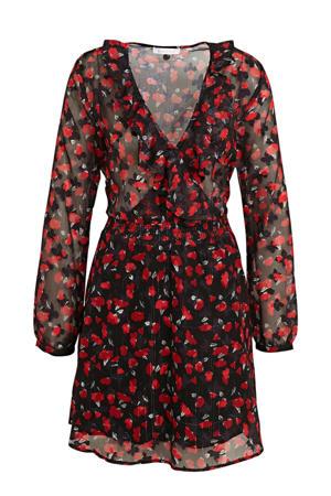 semi-transparante jurk met all over print en ruches rood/zwart