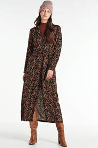 Freebird maxi jurk met all over print en ceintuur zwart/wit, Zwart