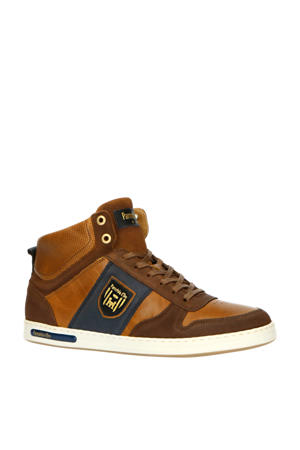 Milito Uomo Mid  hoge leren sneakers cognac/blauw
