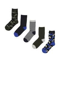 HEMA sokken - set van 5 zwart/donkerblauw (, Zwart/donkerblauw