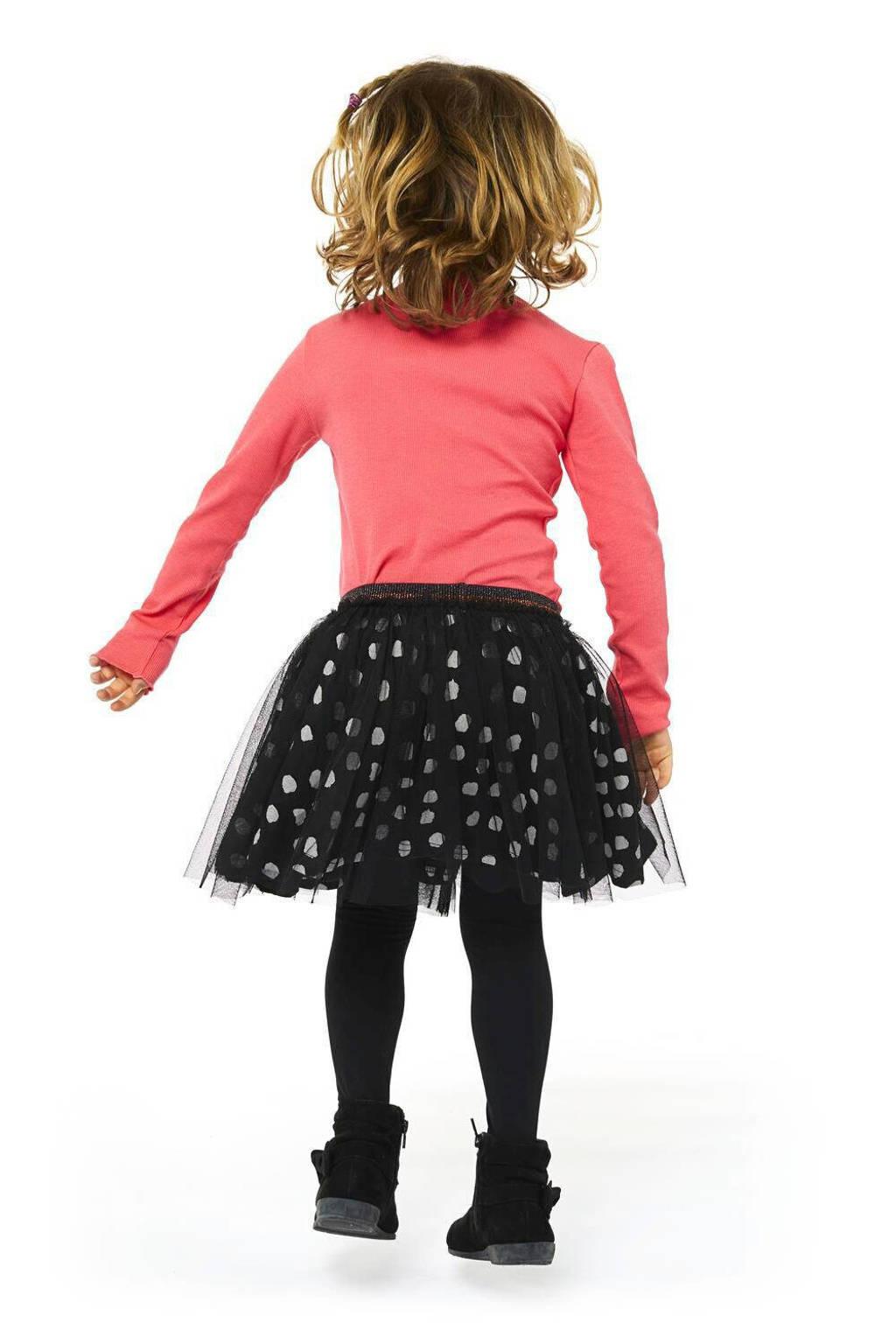 HEMA rok Kimberly met stippen en mesh zwart/wit, Zwart/wit