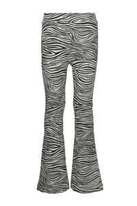 HEMA flared broek met zebraprint zwart/grijsmelange, Zwart/grijsmelange