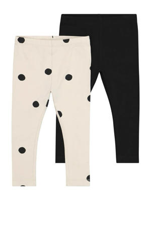 legging met stippen - set van 2 ecru/zwart