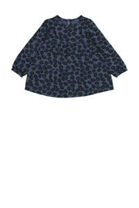 HEMA jurk met dierenprint en plooien donkerblauw, Donkerblauw