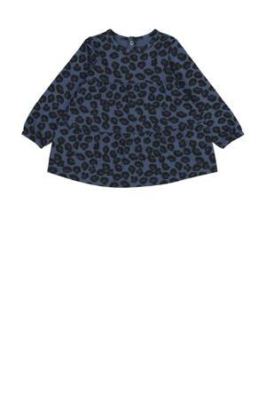 jurk met dierenprint en plooien donkerblauw