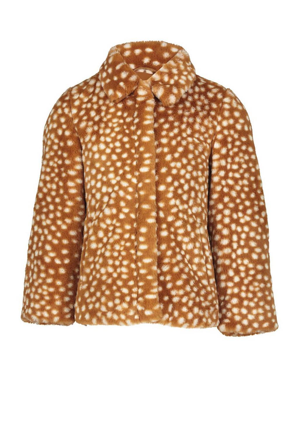 HEMA imitatiebont winterjas met all over print bruin/wit, Bruin/wit