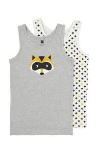 HEMA hemd - set van 2 print grijs/geel, Grijsmelange
