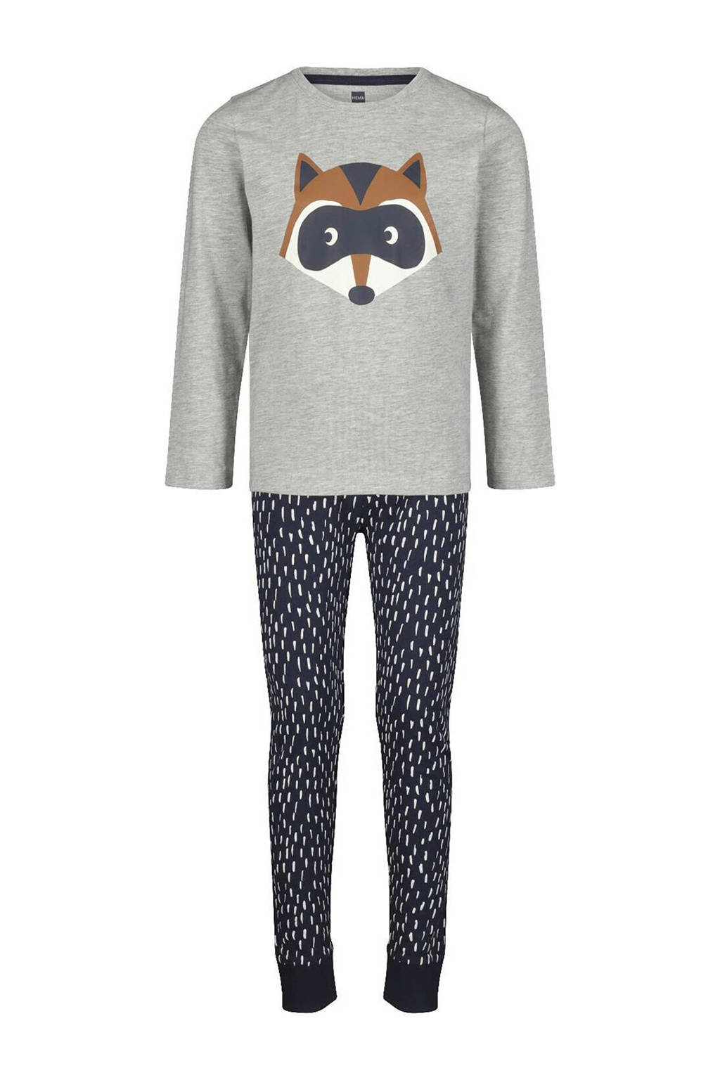HEMA   pyjama printopdruk grijs/blauw, Grijs/blauw