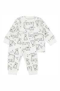 HEMA   velours pyjama dierenprint wit/zwart, Gebroken wit