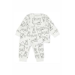 velours pyjama dierenprint wit/zwart
