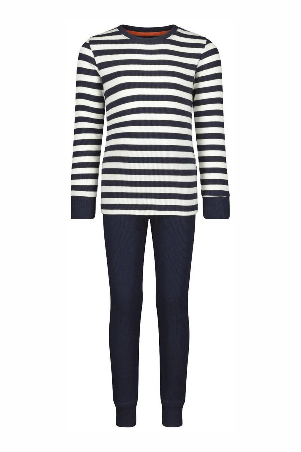 HEMA   pyjama streep donkerblauw/wit, Donkerblauw/wit