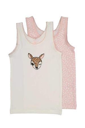 hemd - set van 2 dierenprint wit/roze