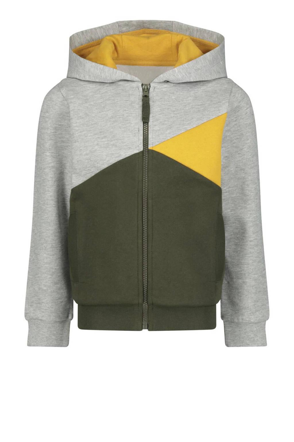 HEMA vest Roy legergroen/grijs/geel, Legergroen/grijs/geel
