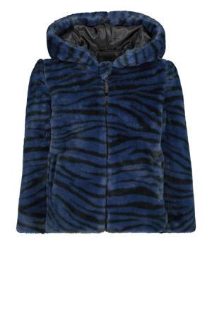 imitatiebont winterjas Joska met zebraprint donkerblauw