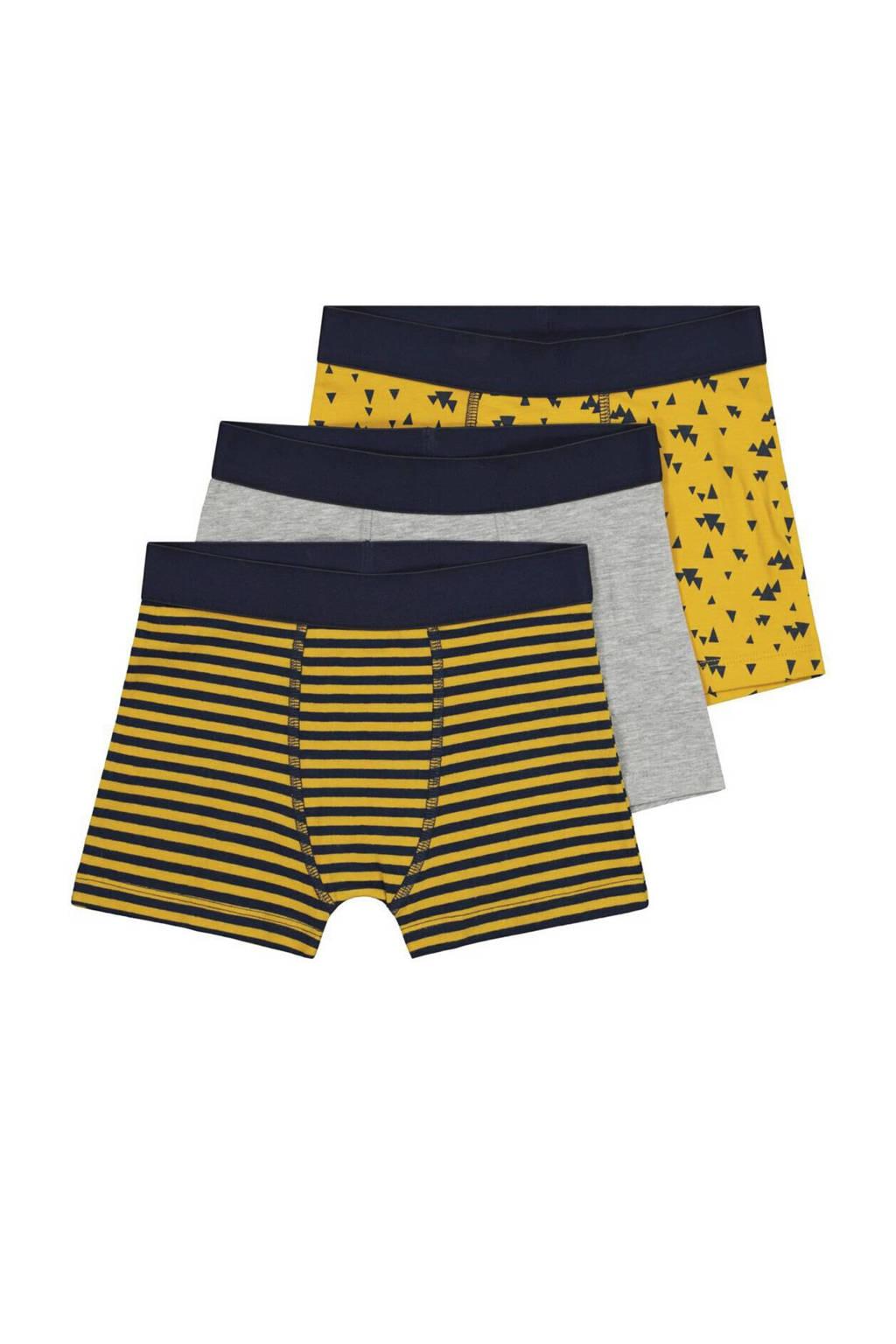HEMA   boxershort - set van 3 all over print geel, Geel