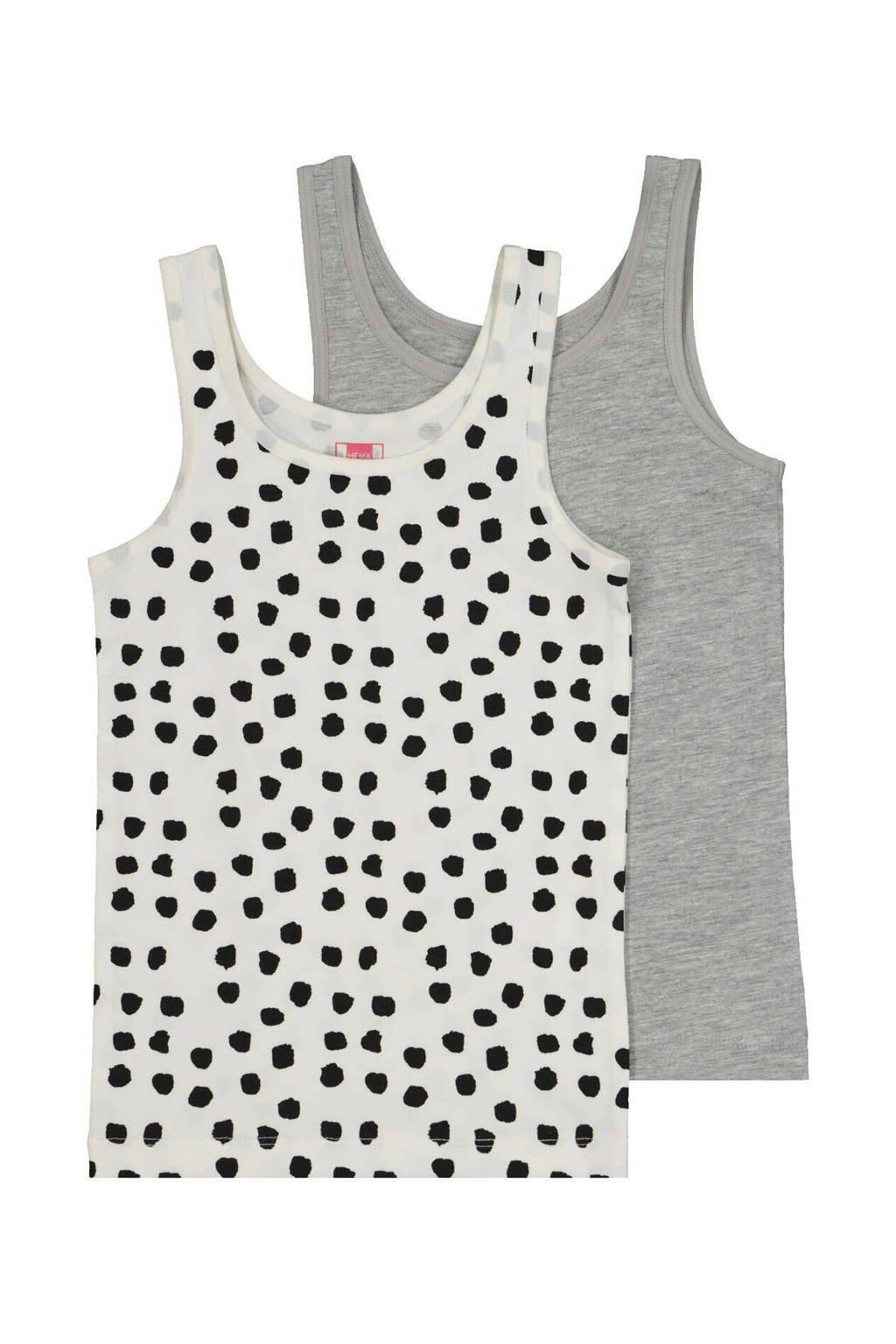 HEMA hemd - set van 2 wit/zwart stip en grijs, Zwart