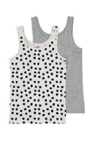 hemd - set van 2 wit/zwart stip en grijs