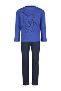 HEMA   pyjama printopdruk blauw, Blauw