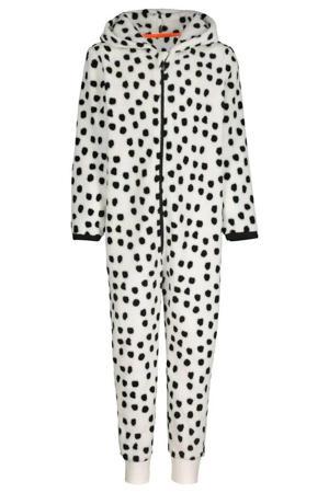 fleece onesie dierenprint gebroken wit/zwart