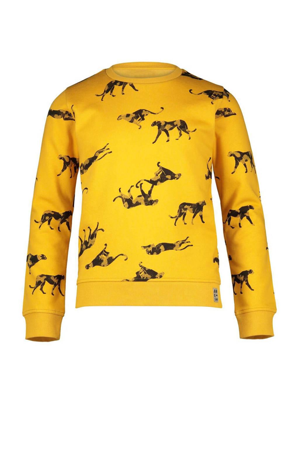 HEMA sweater met dierenprint geel, Geel