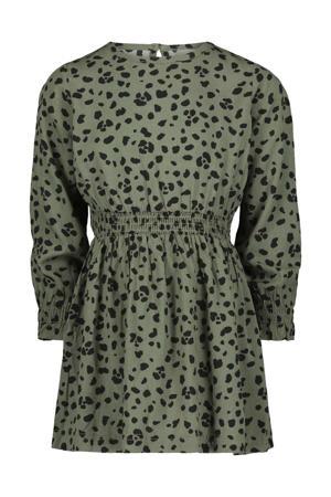 A-lijn jurk met all over print legergroen/zwart