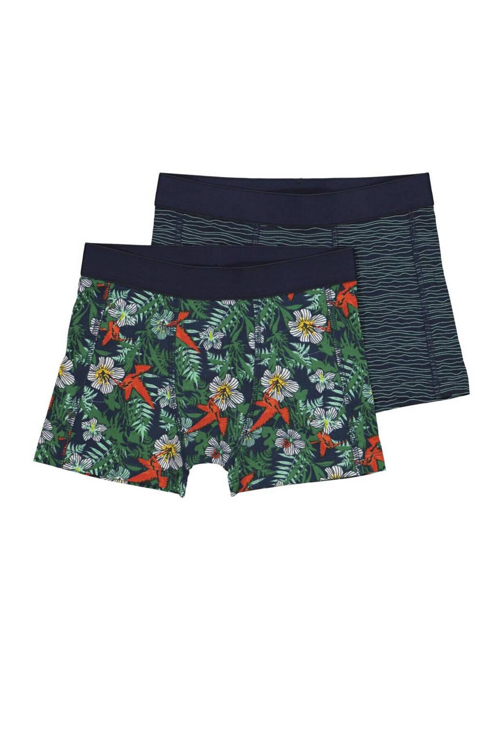 HEMA   boxershort - set van 2 all over print groen/blauw, Groen