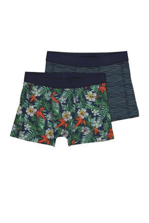 boxershort - set van 2 all over print groen/blauw